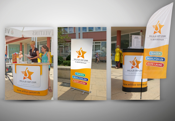 Messestand: Bar, Roll-Up Display, Theke und Beachflag
